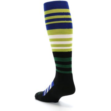 Image of Lime Blue Stripe Wool Men's Over-the-Calf Ski Socks (side-2-back-15)