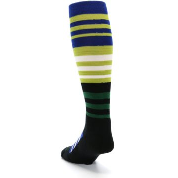 Image of Lime Blue Stripe Wool Men's Over-the-Calf Ski Socks (side-2-back-16)