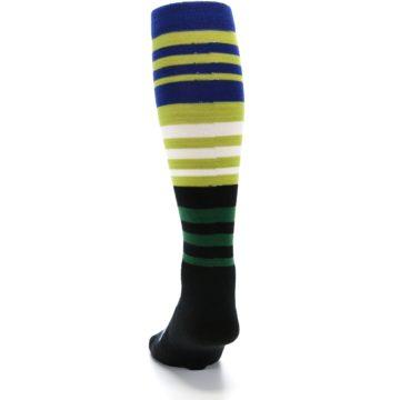 Image of Lime Blue Stripe Wool Men's Over-the-Calf Ski Socks (back-17)