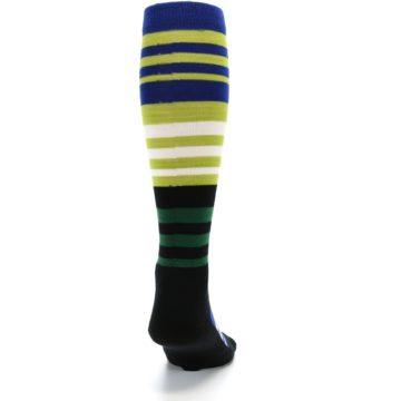 Image of Lime Blue Stripe Wool Men's Over-the-Calf Ski Socks (back-19)