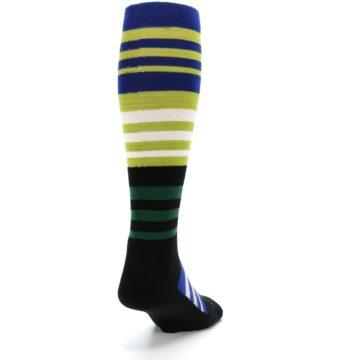 Image of Lime Blue Stripe Wool Men's Over-the-Calf Ski Socks (side-1-back-20)