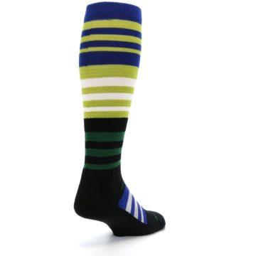 Image of Lime Blue Stripe Wool Men's Over-the-Calf Ski Socks (side-1-back-21)