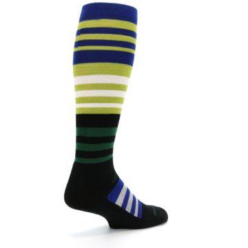 Image of Lime Blue Stripe Wool Men's Over-the-Calf Ski Socks (side-1-back-22)