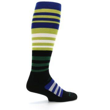 Image of Lime Blue Stripe Wool Men's Over-the-Calf Ski Socks (side-1-23)