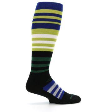 Image of Lime Blue Stripe Wool Men's Over-the-Calf Ski Socks (side-1-24)