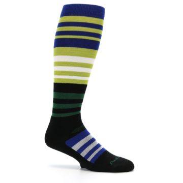 Image of Lime Blue Stripe Wool Men's Over-the-Calf Ski Socks (side-1-25)