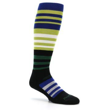 Image of Lime Blue Stripe Wool Men's Over-the-Calf Ski Socks (side-1-26)