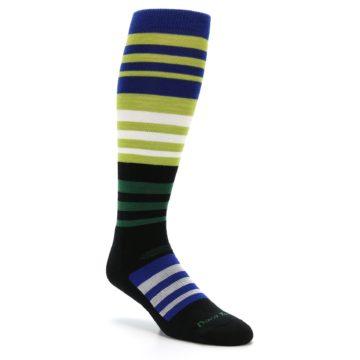 Image of Lime Blue Stripe Wool Men's Over-the-Calf Ski Socks (side-1-27)