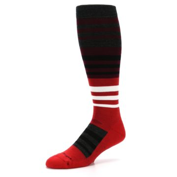 Image of Red Stripe Wool Men's Over-the-Calf Ski Socks (side-2-09)