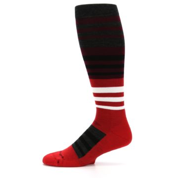 Image of Red Stripe Wool Men's Over-the-Calf Ski Socks (side-2-11)