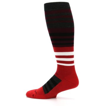 Image of Red Stripe Wool Men's Over-the-Calf Ski Socks (side-2-12)