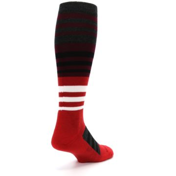 Image of Red Stripe Wool Men's Over-the-Calf Ski Socks (side-1-back-21)