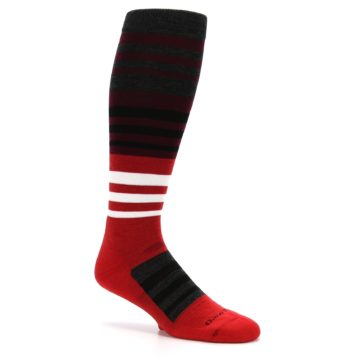 Image of Red Stripe Wool Men's Over-the-Calf Ski Socks (side-1-26)