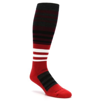 Image of Red Stripe Wool Men's Over-the-Calf Ski Socks (side-1-27)