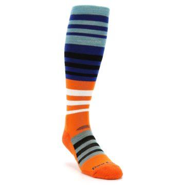 Image of Blue Orange Stripe Wool Men's Over-the-Calf Ski Socks (side-1-front-02)