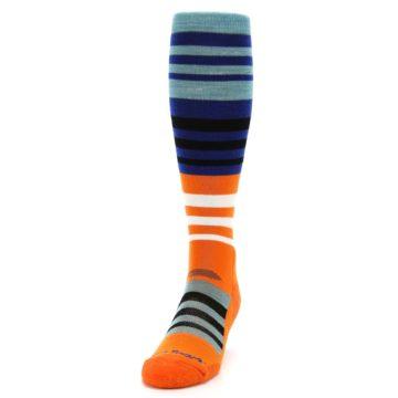 Image of Blue Orange Stripe Wool Men's Over-the-Calf Ski Socks (side-2-front-06)