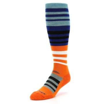 Image of Blue Orange Stripe Wool Men's Over-the-Calf Ski Socks (side-2-front-08)