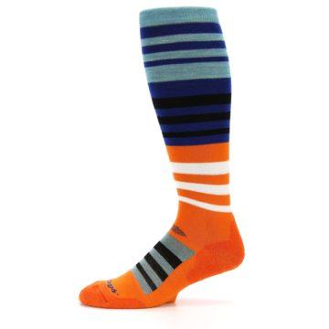 Image of Blue Orange Stripe Wool Men's Over-the-Calf Ski Socks (side-2-11)