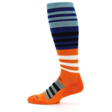 Image of Blue Orange Stripe Wool Men's Over-the-Calf Ski Socks (side-2-12)