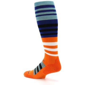 Image of Blue Orange Stripe Wool Men's Over-the-Calf Ski Socks (side-2-back-14)