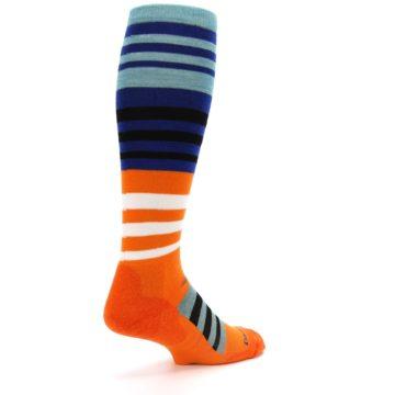Image of Blue Orange Stripe Wool Men's Over-the-Calf Ski Socks (side-1-back-22)