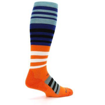 Image of Blue Orange Stripe Wool Men's Over-the-Calf Ski Socks (side-1-23)