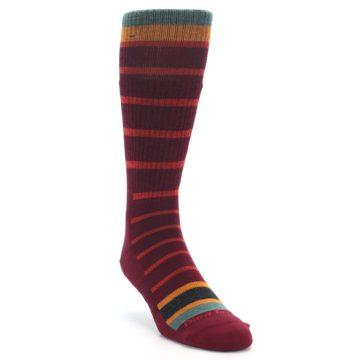 Image of Burgundy Stripe Wool Men's Boot Socks (side-1-front-02)