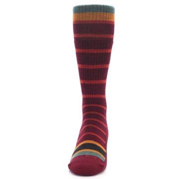 Image of Burgundy Stripe Wool Men's Boot Socks (front-05)