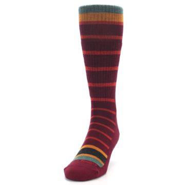 Image of Burgundy Stripe Wool Men's Boot Socks (side-2-front-06)