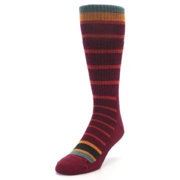 Image of Burgundy Stripe Wool Men's Boot Socks (side-2-front-07)