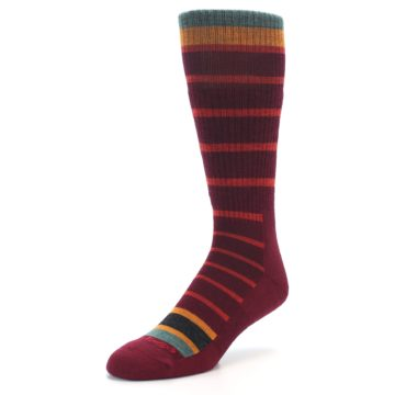 Image of Burgundy Stripe Wool Men's Boot Socks (side-2-front-08)