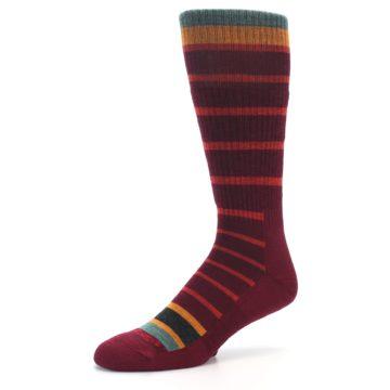 Image of Burgundy Stripe Wool Men's Boot Socks (side-2-09)