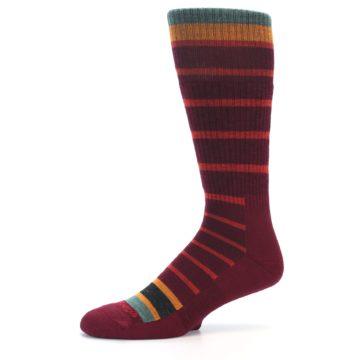Image of Burgundy Stripe Wool Men's Boot Socks (side-2-10)