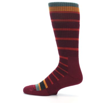 Image of Burgundy Stripe Wool Men's Boot Socks (side-2-12)