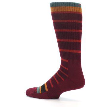 Image of Burgundy Stripe Wool Men's Boot Socks (side-2-13)