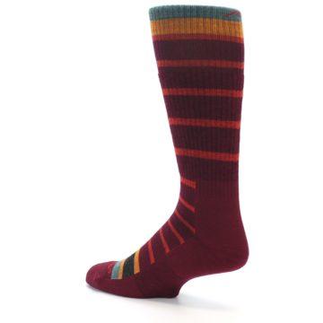 Image of Burgundy Stripe Wool Men's Boot Socks (side-2-back-14)