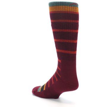 Image of Burgundy Stripe Wool Men's Boot Socks (side-2-back-15)