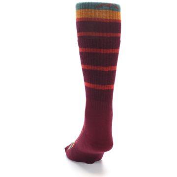 Image of Burgundy Stripe Wool Men's Boot Socks (back-17)