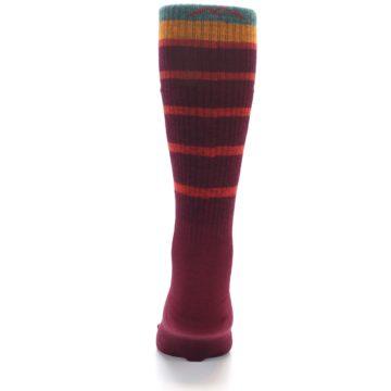 Image of Burgundy Stripe Wool Men's Boot Socks (back-18)