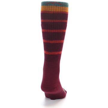 Image of Burgundy Stripe Wool Men's Boot Socks (back-19)