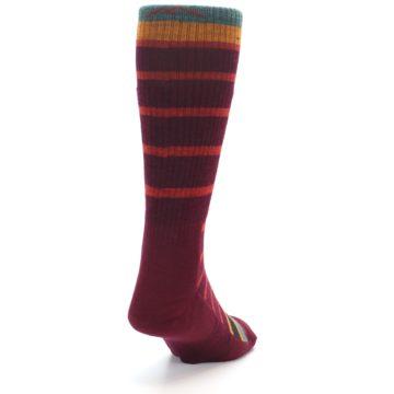 Image of Burgundy Stripe Wool Men's Boot Socks (side-1-back-20)