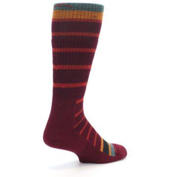 Image of Burgundy Stripe Wool Men's Boot Socks (side-1-back-22)