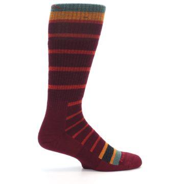 Image of Burgundy Stripe Wool Men's Boot Socks (side-1-24)