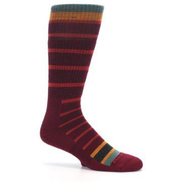 Image of Burgundy Stripe Wool Men's Boot Socks (side-1-25)