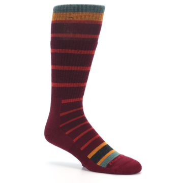 Image of Burgundy Stripe Wool Men's Boot Socks (side-1-26)