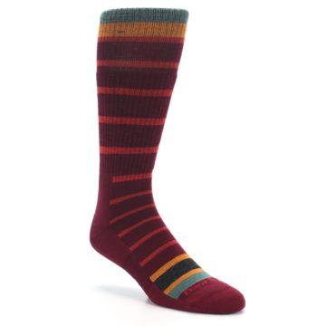 Image of Burgundy Stripe Wool Men's Boot Socks (side-1-27)