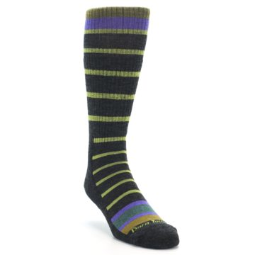 Image of Charcoal Lime Stripe Wool Men's Boot Socks (side-1-front-02)