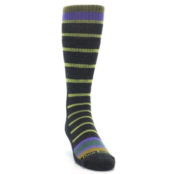 Image of Charcoal Lime Stripe Wool Men's Boot Socks (side-1-front-03)