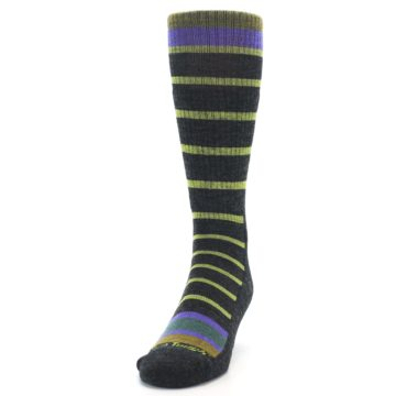 Image of Charcoal Lime Stripe Wool Men's Boot Socks (side-2-front-06)