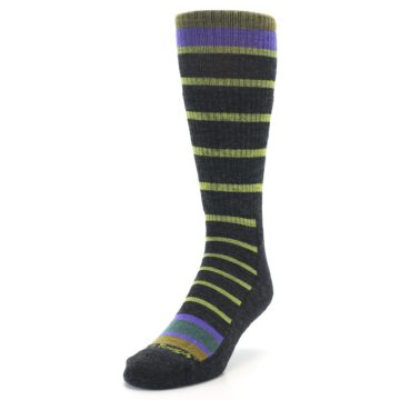 Image of Charcoal Lime Stripe Wool Men's Boot Socks (side-2-front-07)